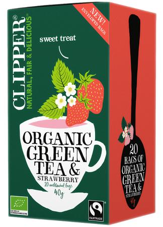 Herbata zielona ekologiczna z truskawką 40g (20 x 2g) - Clipper
