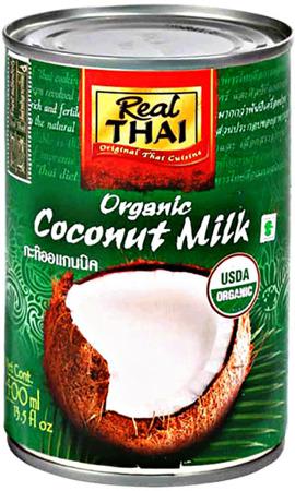 Mleko kokosowe Organic BIO (85% wyciągu z kokosa) w puszce 400ml - Real Thai